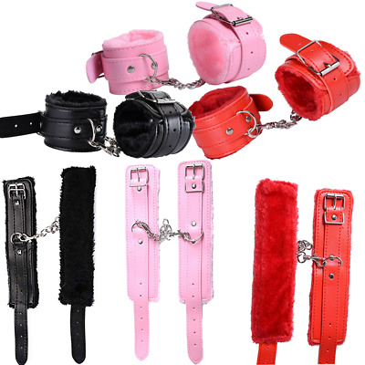 Other Sexual Wellness Pink Fur Metal Handcuffs Pleasure Satin Mask Hand Cuffs Keys And Blindfold
