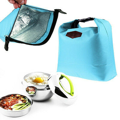 Thermal Cooler Insulated Lunch Box Portable Tote Storage Picnic Bag Blue New