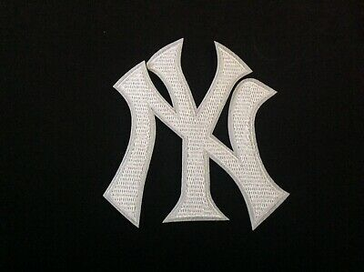"""MLB 3"""" NEW YORK YANKEES WHITE LOGO Embroidered Iron On/Sew On Patch USA Seller"""