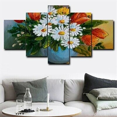 5Pcs Large Modern Canvas Wall White Flower Vase Oil Painting Home Decor Picture