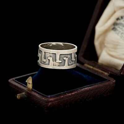 Antique Vintage Mid Century Sterling Silver Mexican TAXCO Greek Key Ring Sz 5.75