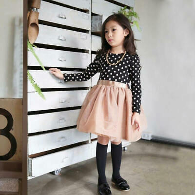f47a35a6b719 Kids Toddler Girls Princess Long Sleeve Tutu Skater Dress Winter Autumn YDF