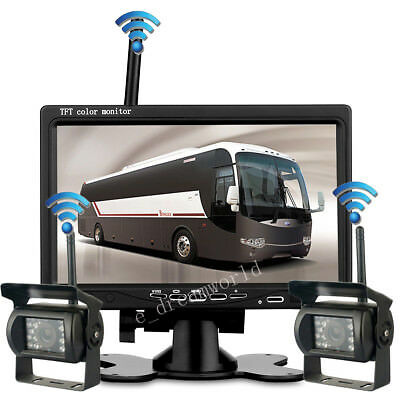 "2PC Wireless IR Rear View Back up Camera System+7"" Monitor F Truck RV Car 12-24V"