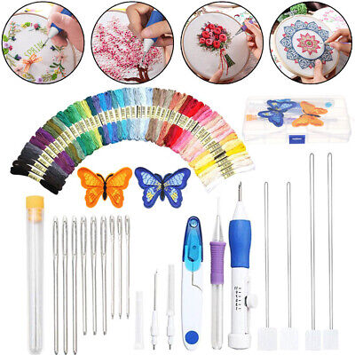 DIY Embroidery Pen Knitting Sewing Tools Kit Punch Needle Set + 50 Threads Sets