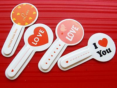 Set of 4 LOVE Paper Clip Color Bookmark Stationery Souvenir Collection Kids Gift