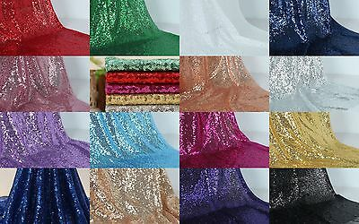 "mini disc Glitz Embroidery Sequins 54"" Fabric Wedding Party Events Decoration"
