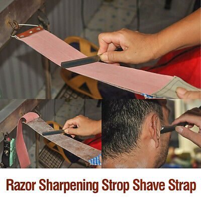 Barber Double Sided Leather Strop Straight Razor Shave Sharpening Strap Durable
