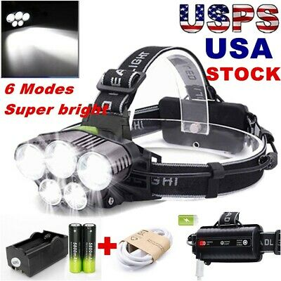 150000LM 5x T6 LED 6-Mode Headlamp Headlight Torch Rechargeable Battery+Charger
