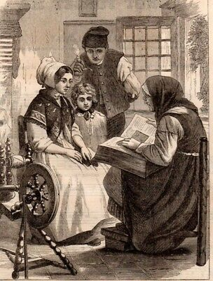 Antique Victorian Art print engraving 1867 Reading the Bible Family old woman
