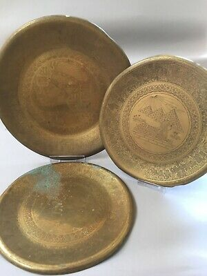 3 x Vintage Brass Plates Wall Plaques Egyptian Pyramids Sphinx Gods