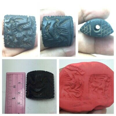Unseen bacterian black stone double side amazing intaglio bead