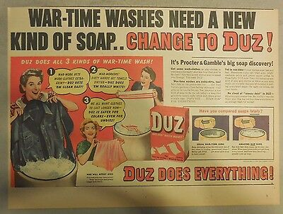 DUZ Detergent Ad: War-Time Washes Need A New Kind Of Soap!: DUZ Ad from 1940's
