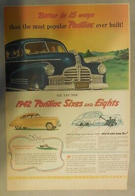Pontiac Car Ad: 1942 Pontiac Sixes and Eights ! Size: 11 x 15 inches