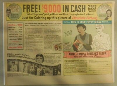 Aunt Jemima Pancakes Ad: Claudette Colbert Contest Offer ! from 1934