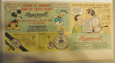 Ingersoll Watch Ad: Walt Disney's Mickey Mouse and Donald Duck Watches from 1939