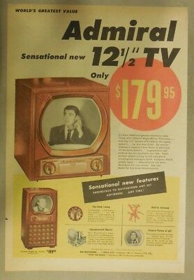 Admiral Appliances Ad: Admiral Sensational New 12.5 Inch TV from 1949