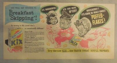 """Kix Cereal Ad: """"Breakfast Skipping""""  from 1930's-1940's 7.5 x 15 inches"""