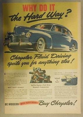 Chrysler Car Ad: Why Do It The Hard Way? From 1941 Size: 11 x 15 Inches