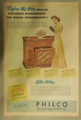 Philco Ad: Philco Promises Modernized Post War Phonograph! from 1944
