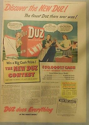 DUZ Detergent Ad: Discover The New DUZ !: DUZ Ad from 1940's