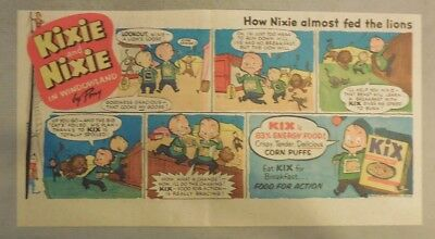 """Kix Cereal Ad: """"Kixie and Nixie""""  from 1930's-1940's 7.5 x 15 inches"""
