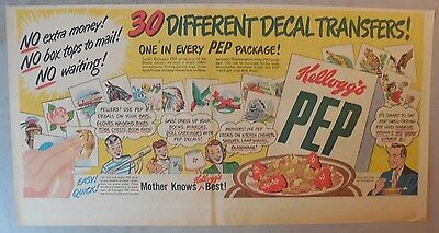 """Kellogg's Cereal Ad: """"Decals"""" Premium from 1930's-1940's 7.5  x 15 inches"""