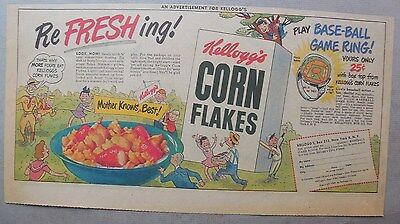 """Kellogg's Cereal Ad: """"Baseball Game Ring"""" Premium from 1949 7.5  x 15 inches"""