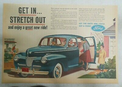 Ford Car Ad: Get In And Stretch Out, Enjoy Ride from 1941 ! Size: 11 x 15 inches