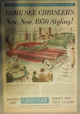 Chrysler Car Ad: Come See Chrysler's New, New 1950 Styling! Size: 11 x 15 Inches