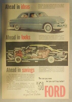 Ford Car Ad: Ahead in Ideas, Ahead In Looks! 1951 Model Ford Size:11 x 15 inches