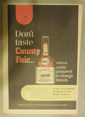 County Fair Kentucky Whiskey Ad: The No. 1 Bottled in Bond Bourbon ! from 1940's