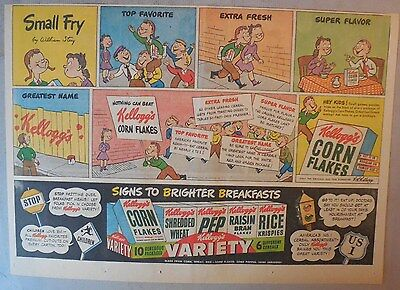 "Kellogg's Cereal Ad: Corn Flakes ""Small Fry""  1930's-1940's 11 x 15 inches"