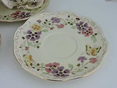 VINTAGE Zsolnay Hungary Pansy Flowers & Butterfly 1 Saucer Only Gold Pink Rare