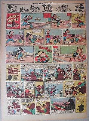 Mickey Mouse Sunday Page by Walt Disney from 10/28/1945 Tabloid Page Size