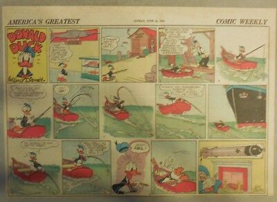Donald Duck Sunday Page by Walt Disney from 6/14/1942 Half Page Size