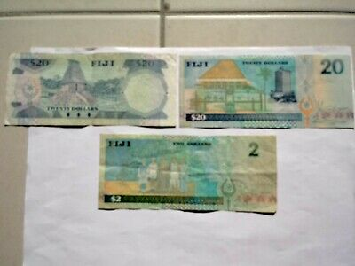Various Circulated Fiji Bank Notes with QE2 Potrait. Ideal for note collection.