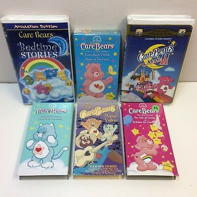 Lot of 6‼ Care Bears VHS Video Tapes Movie, Show, & HTF‼ RARE‼ Music Video