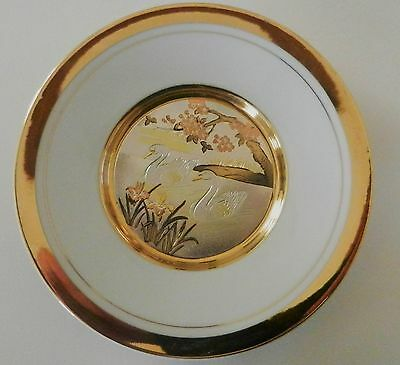 The Art Of Chokin SWANS Gilded with Gold /Silver Decorative Plate Japan 7 3/4''