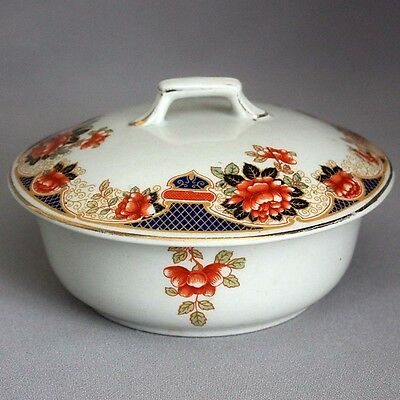 SALE! VTG Antique English GIBSON'S IMARI BUTTER DISH Bowl Staffordshire Burslem
