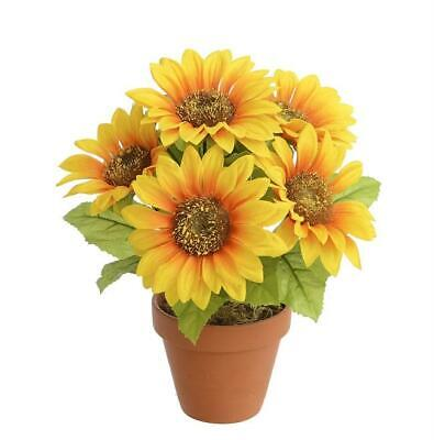 25cm Tall Small Potted Sunflower Bush Artificial Silk Flowers Pot Plant