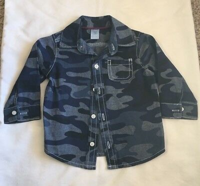 Carter's Baby Boy's Blue Camouflage Button Front Shirt Size 12 Months