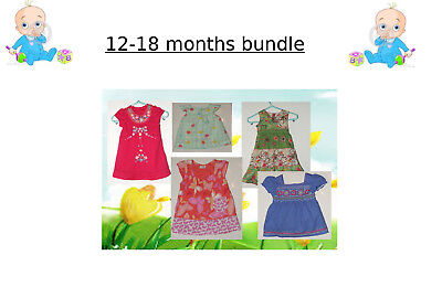 BUNDLE x 5 Baby Girls Dresses Next George TU 12-18 Months VGC