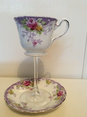 Vintage Tea Cup Wine Glass Stem and Matching Saucer Unique Upcycled Gin Lover
