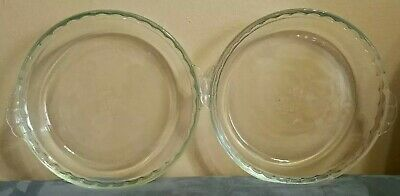 """Pyrex Deep Dish Pie Plate Pan Clear 229 24cm 9.5"""" Scalloped Fluted Edge Handles"""