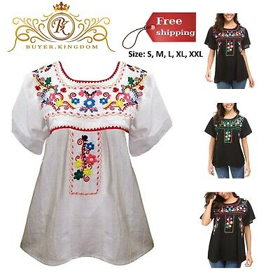 CLOTHING TOP SUMMER Loose Vintage Women Embroidered Mexican ...