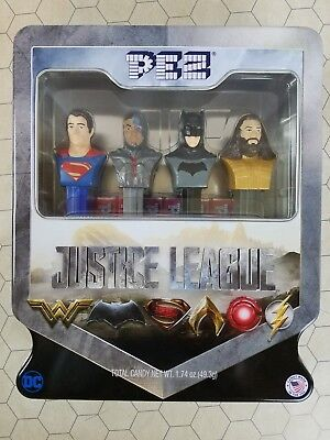 PEZ Justice League Set In Tin Includes Batman, Superman, Aquaman, and Cyborg New
