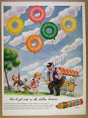 1944 Life Savers Lifesavers candy Five Flavor kids balloons art vintage print Ad