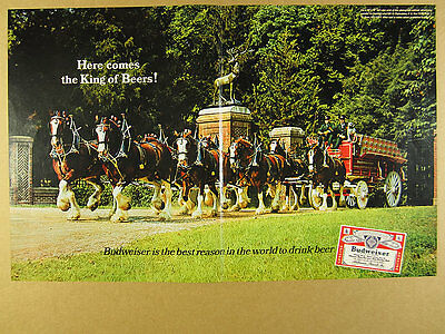1967 Budweiser Clydesdales Horse Team Beer Wagon BIG