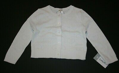 New Carter's Girls White Cardigan Sweater Heart Pointelle Design 6 7 8 12 14 yr