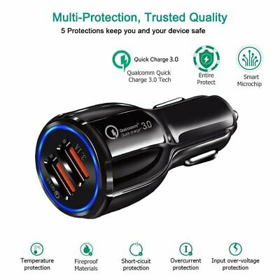 Fast 3.1A  2USB Quick Car Charger QC3.0 Phone Charge USB Charging With LED Light
